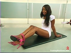 Stacey Cash Gets Her  Black  Smashed By A Sex Machine